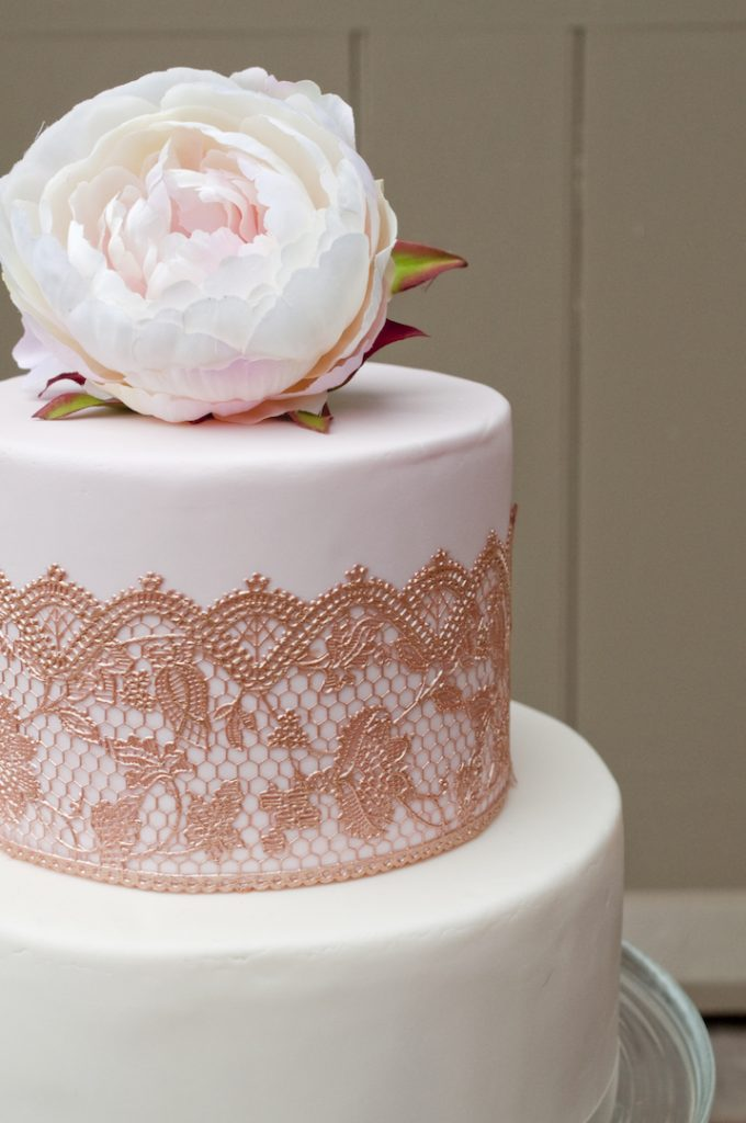 Rose gold lace and peony
